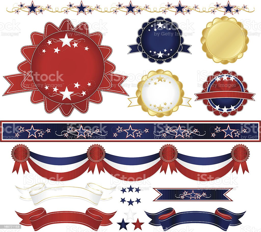 Patriotic Emblems, Ribbons, Stickers, Borders, Stars Set: Red, White, Blue royalty-free patriotic emblems ribbons stickers borders stars set red white blue stock vector art & more images of award