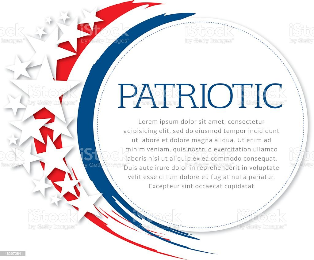 Patriotic Flyer Stars and flag colors with copy space. American Culture stock vector