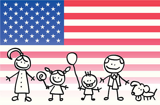 patriotic happy american family with usa, flag cartoon - family 4th of july 幅插畫檔、美工圖案、卡通及圖標