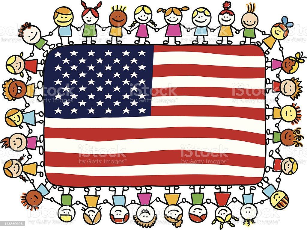 Patriotic Happy Children Friends Holding Usa American Flag ...