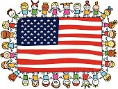 patriotic happy children friends holding USA, american flag cartoon illustration