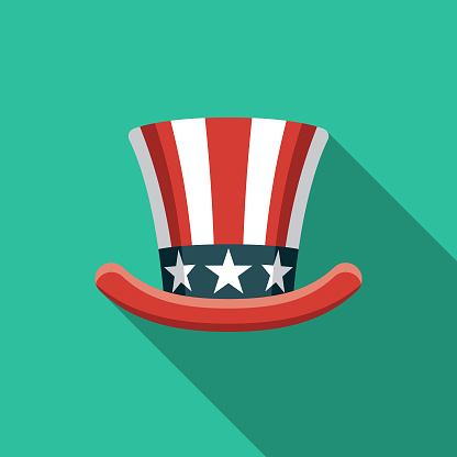 Patriotic Hat Flat Design USA Icon with Side Shadow