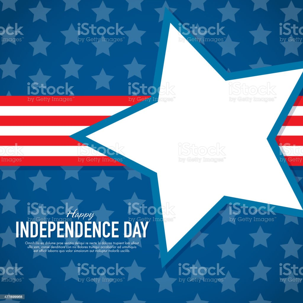 Patriotic Independence Day Celebration greeting card design template Vector illustration of a modern Independence Day celebration greeting card design template. American flag. Stars and stripes. Perfect template for a family gathering or a corporate event or any summer fun celebration. Includes Star with various word Americana themed words. Red and white theme for Fourth of July. Simple typography sample. 2015 stock vector