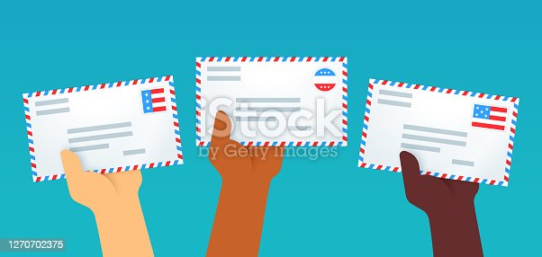 American culture patriotic letters hands holding pieces of mail or an envelope for sending or receiving.