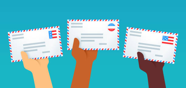 patriotic letters voting by mail - ballot stock illustrations