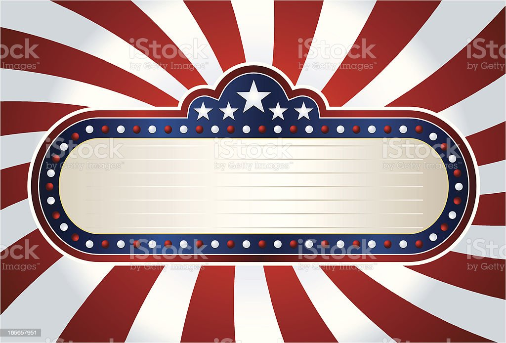 Patriotic Marquee on striped flag vector art illustration