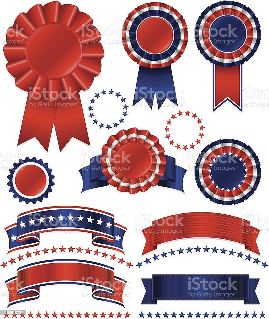 Patriotic or Award Rosettes, Stickers, Ribbons, and Stars Set royalty-free stock vector art