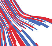 Patriotic red white and blue wave lines curved abstract flow background.