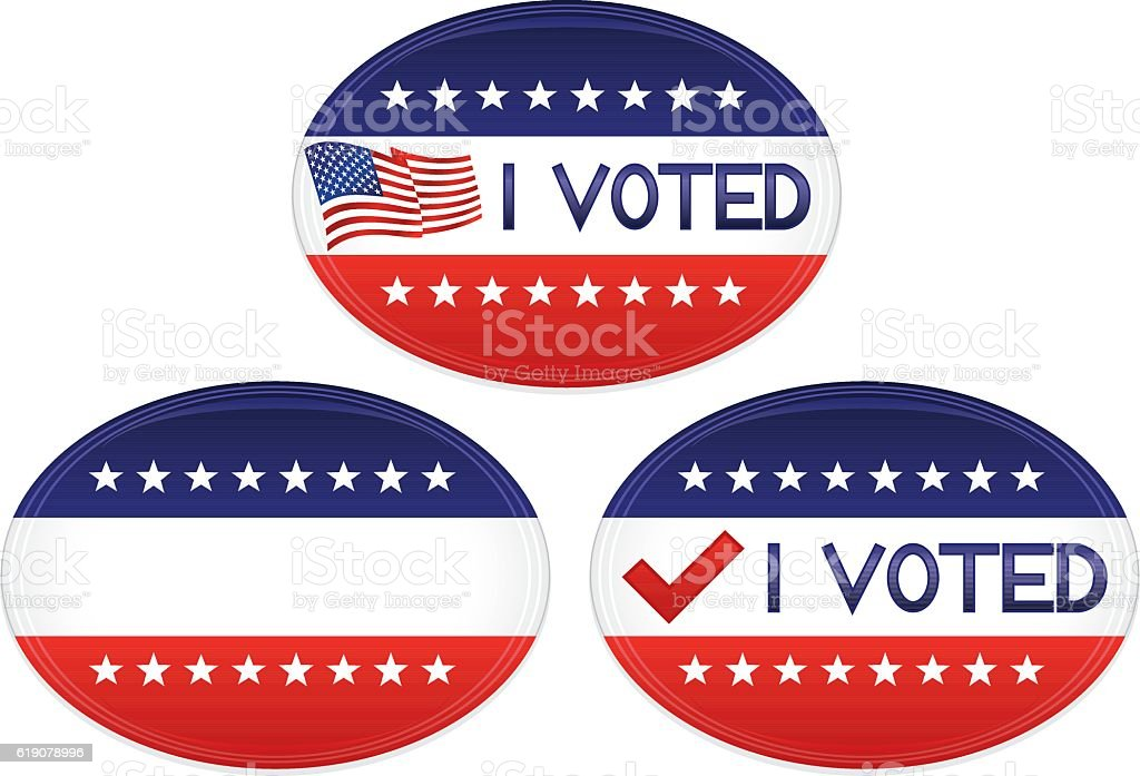 Patriotic Red White Blue Buttons Stickers Flag I Voted Text Stock ...