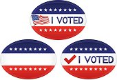 Set of three classic basic oval red, white, and blue buttons, stickers with ***optional I VOTED text or US flag.*** Copy space.