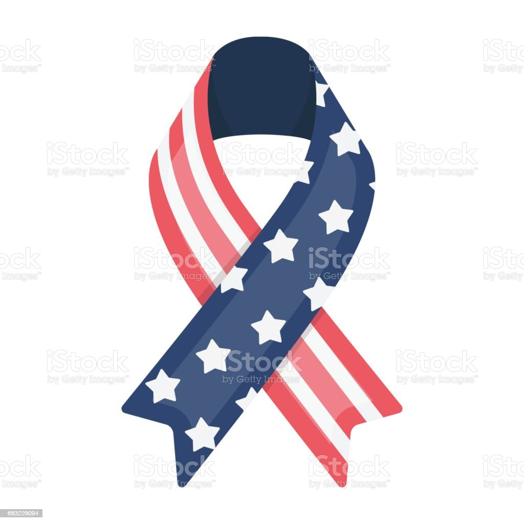 Patriotic ribbon icon in cartoon style isolated on white background. Patriot day symbol stock vector illustration. royalty-free patriotic ribbon icon in cartoon style isolated on white background patriot day symbol stock vector illustration stock vector art & more images of day