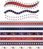 Set of shiny red, white, blue ribbons and borders with stars, and star designs. USA Fourth of July, Britain, patriotic. Mixable layers.
