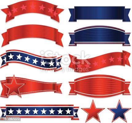 Shiny red, white, blue ribbons set. Optional stars, stickers, emblems. USA Fourth of July, Britain, patriotic. Mixable layers. Copy space.
