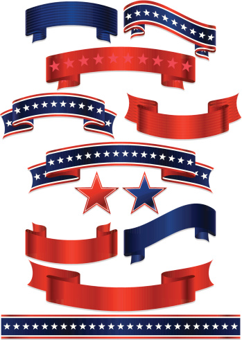 Patriotic Ribbons, Stickers, and Stars Set: Red, White, Blue