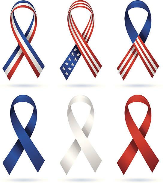 usa patriotic ribbons - inauguration stock illustrations