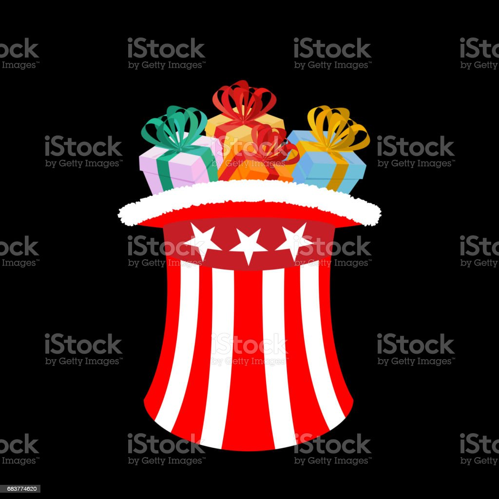 patriotic santa claus cap with gifts winter hat uncle sam for gift