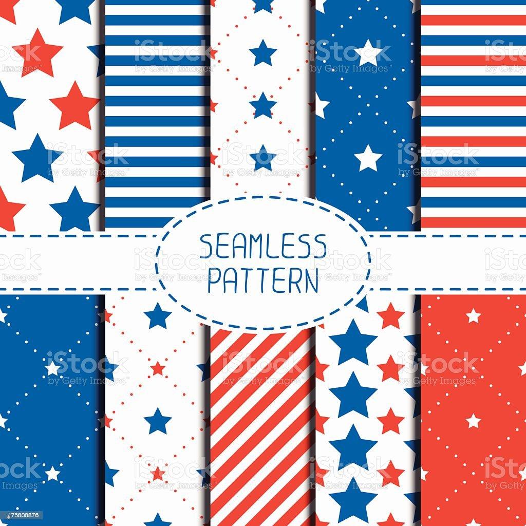 Patriotic seamless pattern. American symbols. USA flag. 4th of July. vector art illustration