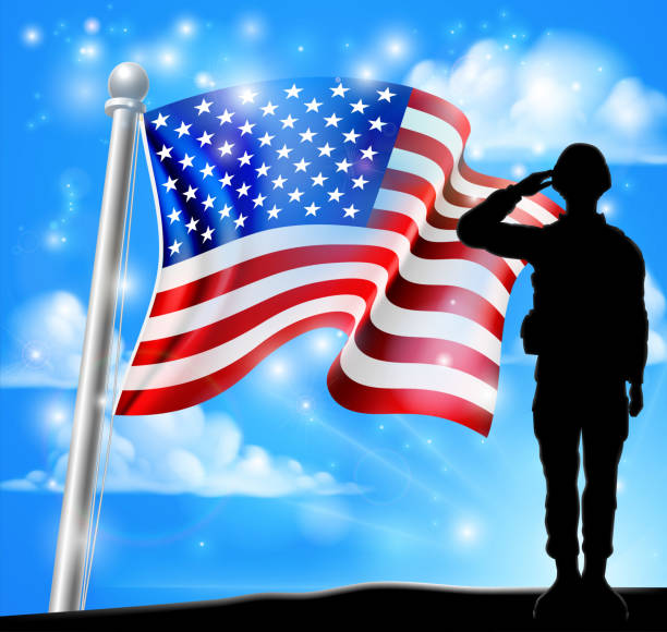 Patriotic Soldier Salute American Flag Background A patriotic soldier standing in front of an American flag background and saluting saluting stock illustrations