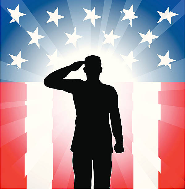 patriotic soldier salute - army soldier stock illustrations, clip art, cartoons, & icons