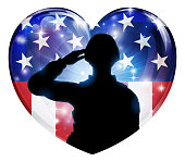A patriotic soldier saluting in an American flag heart background