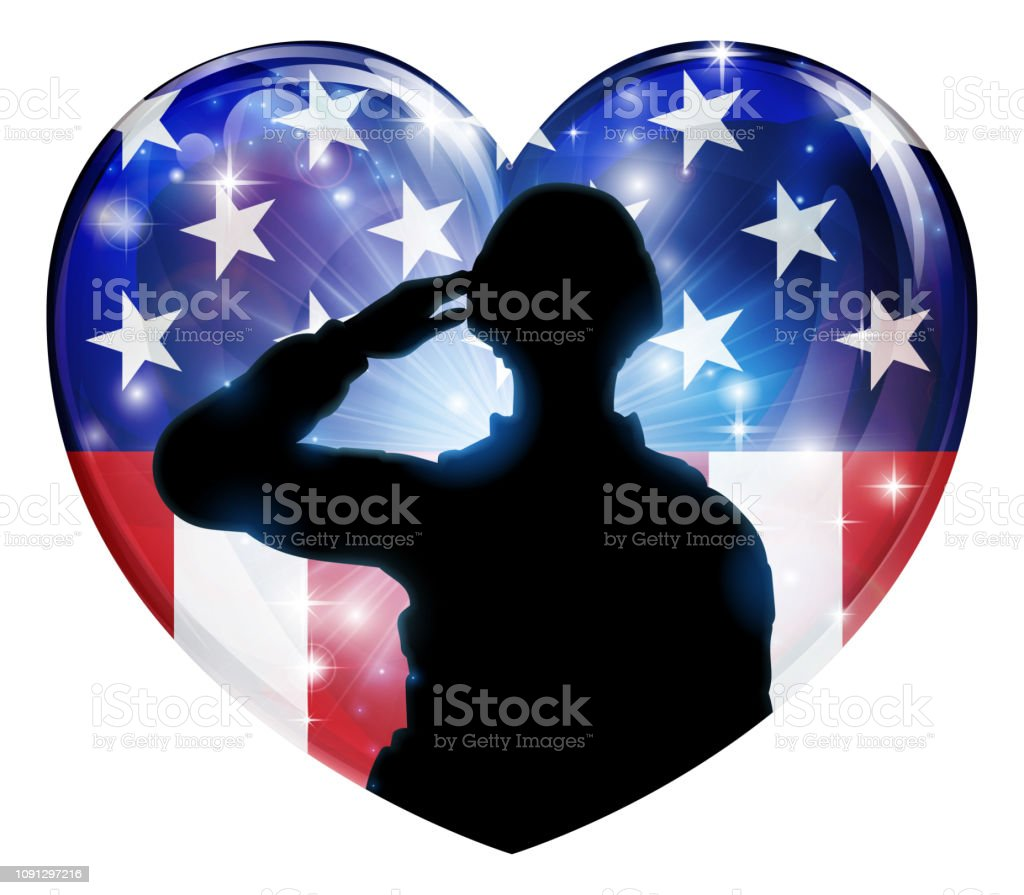 Patriotic Soldier Saluting American Flag Heart vector art illustration