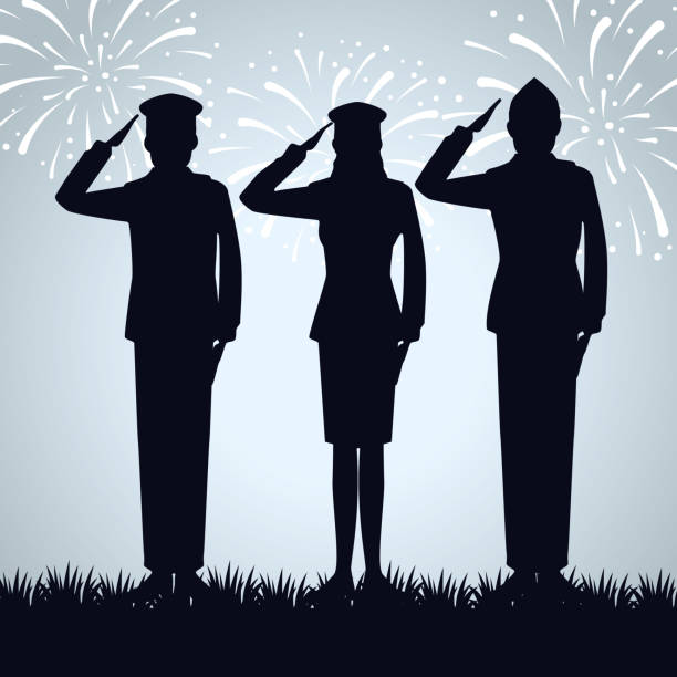 patriotic soldiers to traditional memorial day vector art illustration