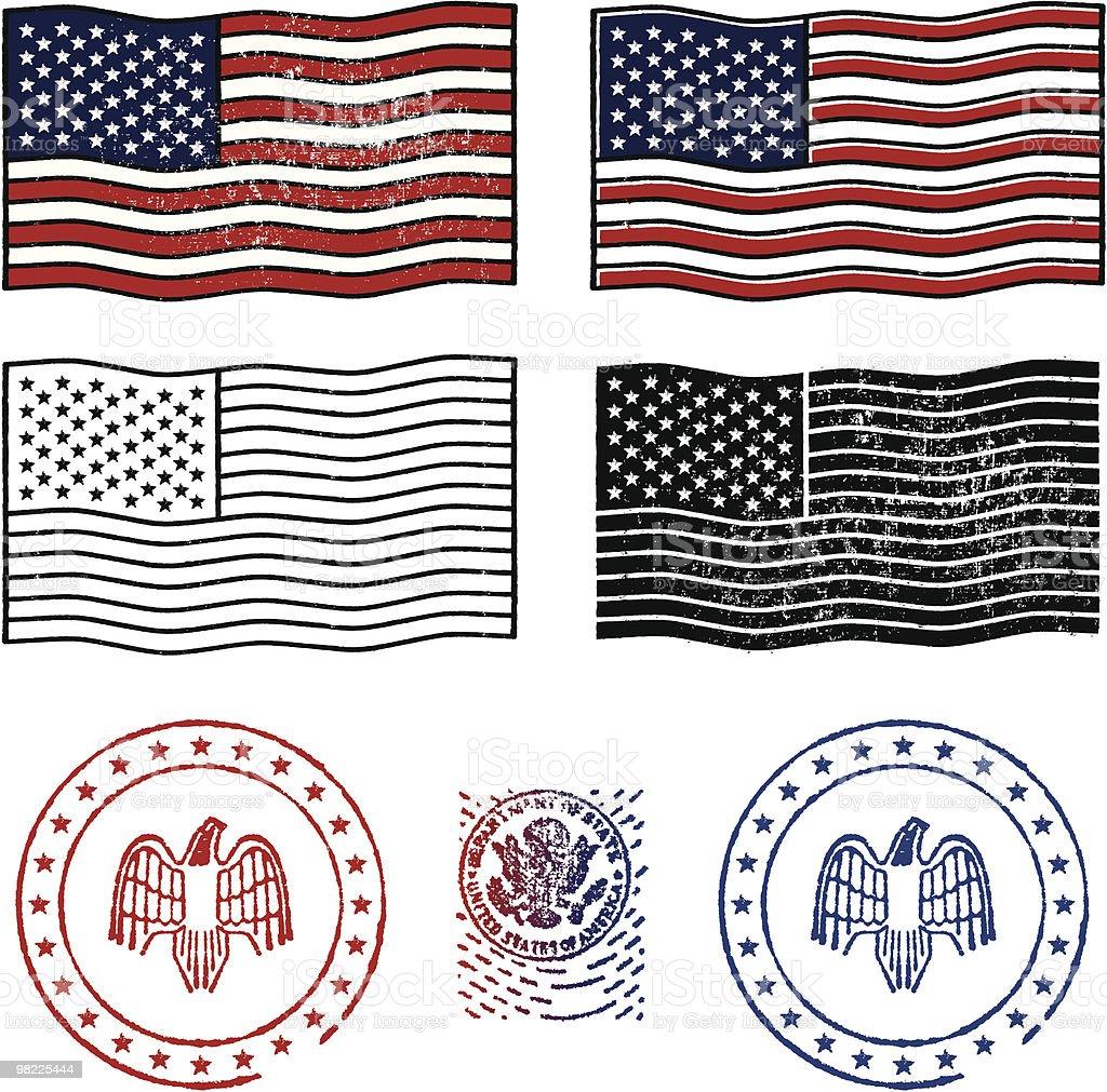 Patriotic Stamp Set royalty-free patriotic stamp set stock vector art & more images of american flag