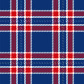 Patriotic Tartan of White, Blue and Red - Seamless Patterns - Illustration