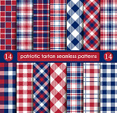 Patriotic Tartan Set of White , Blue, Red Seamless Patterns. Suitable for Elections or 4th of July. Swatches, Vector Endless Texture Can Be Used for Wallpaper, Background, Pattern Fills, Web Page, Surface.