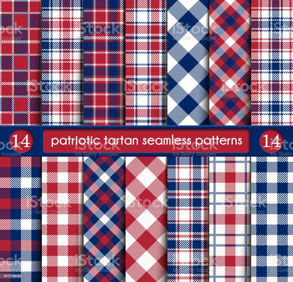 Patriotic Tartan Set of White , Blue, Red Seamless Patterns vector art illustration
