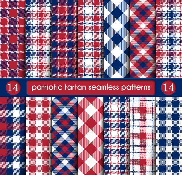 patriotic tartan set of white , blue, red seamless patterns - flannel backgrounds stock illustrations, clip art, cartoons, & icons
