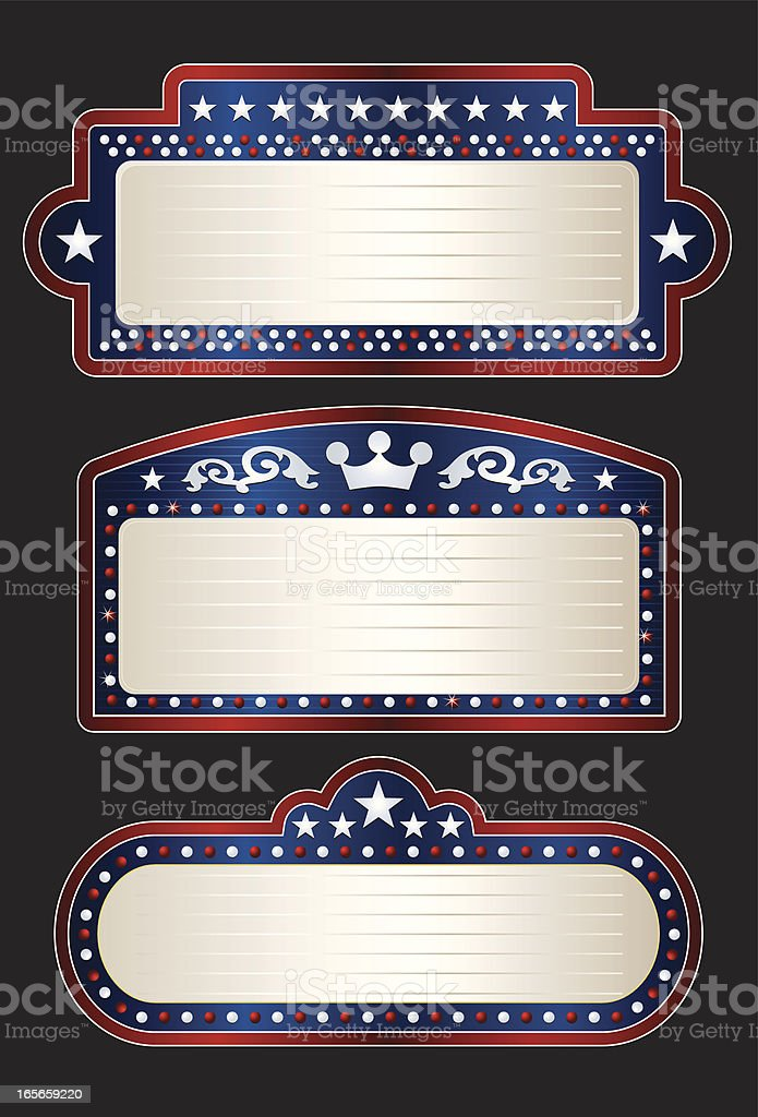 Patriotic Theater Marquees royalty-free stock vector art