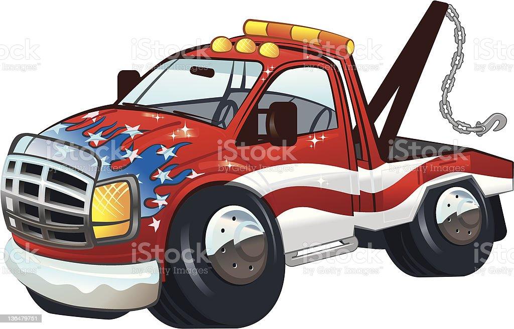 Patriotic Tow Truck vector art illustration