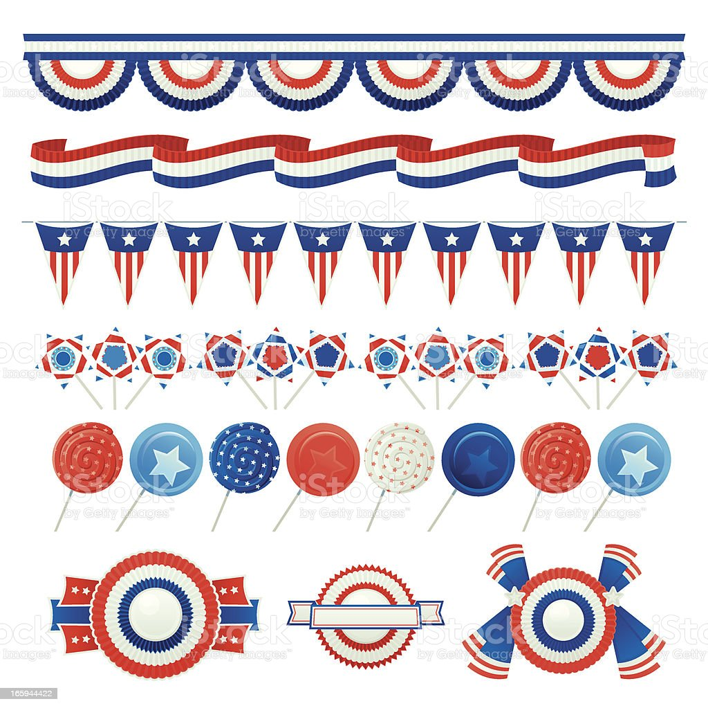 Patriotic USA or 4th of July elements like lollipops vector art illustration