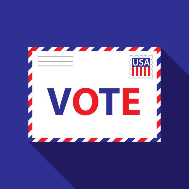 patriotic vote envelope - ballot stock illustrations