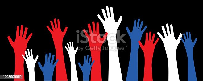 Vector illustration of a set of red, white and blue  hands raised into the air.