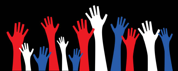 Patriotic Voting Hands Vector illustration of a set of red, white and blue  hands raised into the air. voting stock illustrations