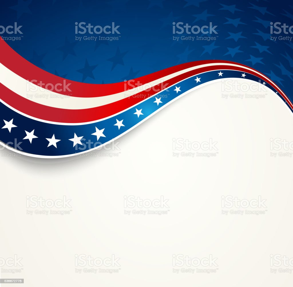 Patriotic wave background vector art illustration