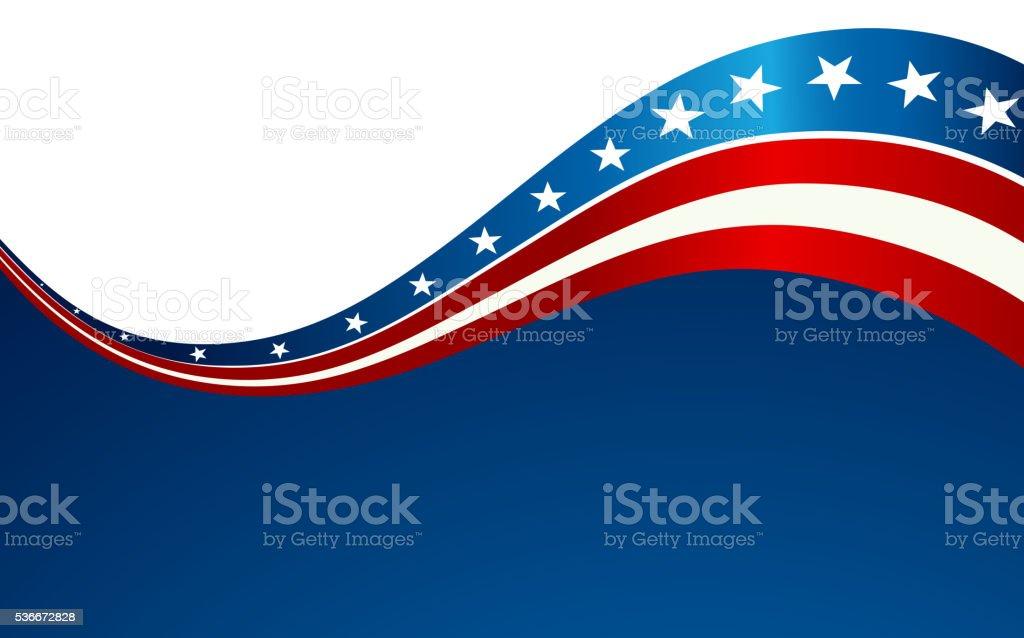 Patriotic wave background vector art illustration