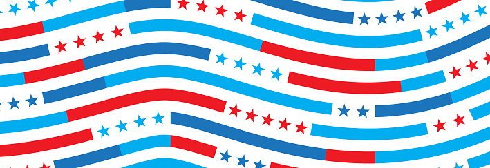 Patriotic Wavy Lines Abstract Background
