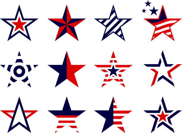illustrazioni stock, clip art, cartoni animati e icone di tendenza di patriotism concept stars set - stelle