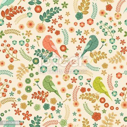 istock Patrón vector floral transparente 534508569