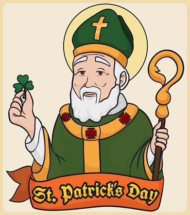 Patron Saint of Ireland: St. Patrick with Clover