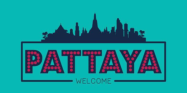 pattaya stadt skyline typografische illustrationen - pattaya stock-grafiken, -clipart, -cartoons und -symbole