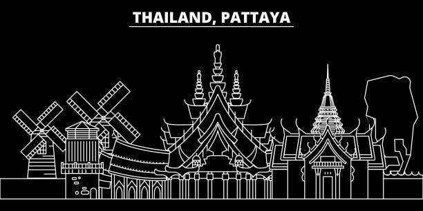 pattaya silhouette skyline. thailand - pattaya-vektor-stadt, thai lineare architektur, gebäude. pattaya linie reisen abbildung, sehenswürdigkeiten. flache symbol thailand, thai umriss design banner - pattaya stock-grafiken, -clipart, -cartoons und -symbole