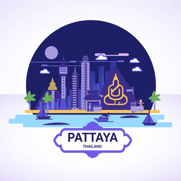 pattaya-skyline-symbol mit strret essen cart - vektor - pattaya stock-grafiken, -clipart, -cartoons und -symbole