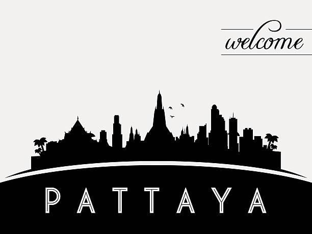 pattaya skyline silhouette vektor-design-schwarz - pattaya stock-grafiken, -clipart, -cartoons und -symbole
