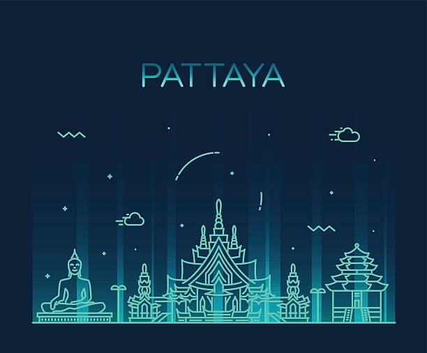 pattaya trendige vektor-illustration linearen stil - pattaya stock-grafiken, -clipart, -cartoons und -symbole
