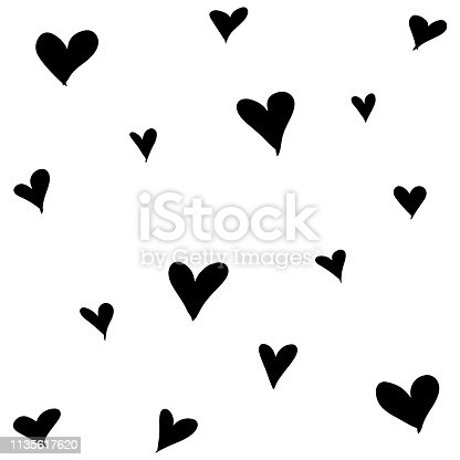 Cute hand drawn color vector seamless pattern. Black hearts isolated on white background. Unique abstract texture for invitations, cards, websites, wrapping paper, textile