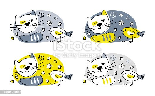 istock Pattern. A kind cat is watching a small beautiful bird. Friendship of animals. Stylized multicolored illustrations. 1333508392